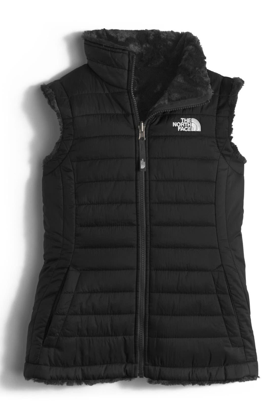 'Mossbud Swirl' Reversible Water Repellent Vest,                             Main thumbnail 1, color,                             Tnf Black