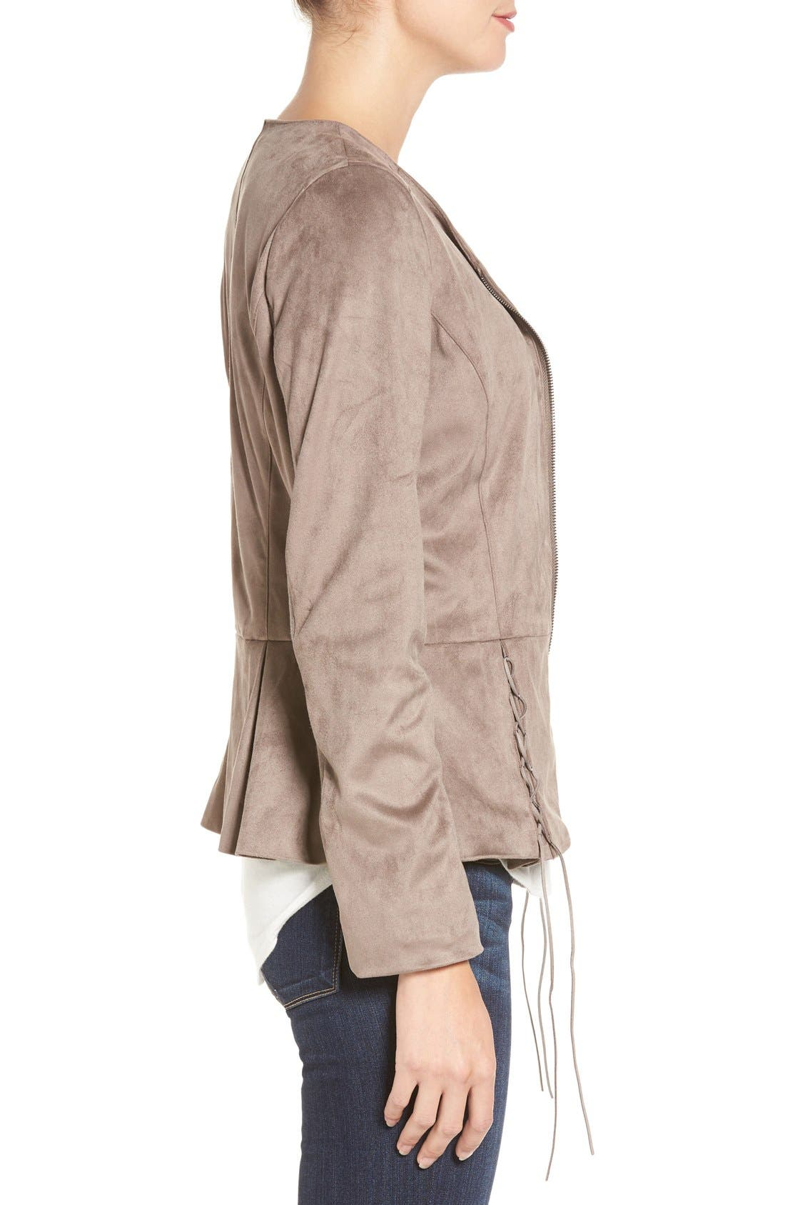 Lace-Up Peplum Faux Suede Jacket,                             Alternate thumbnail 3, color,                             Buff