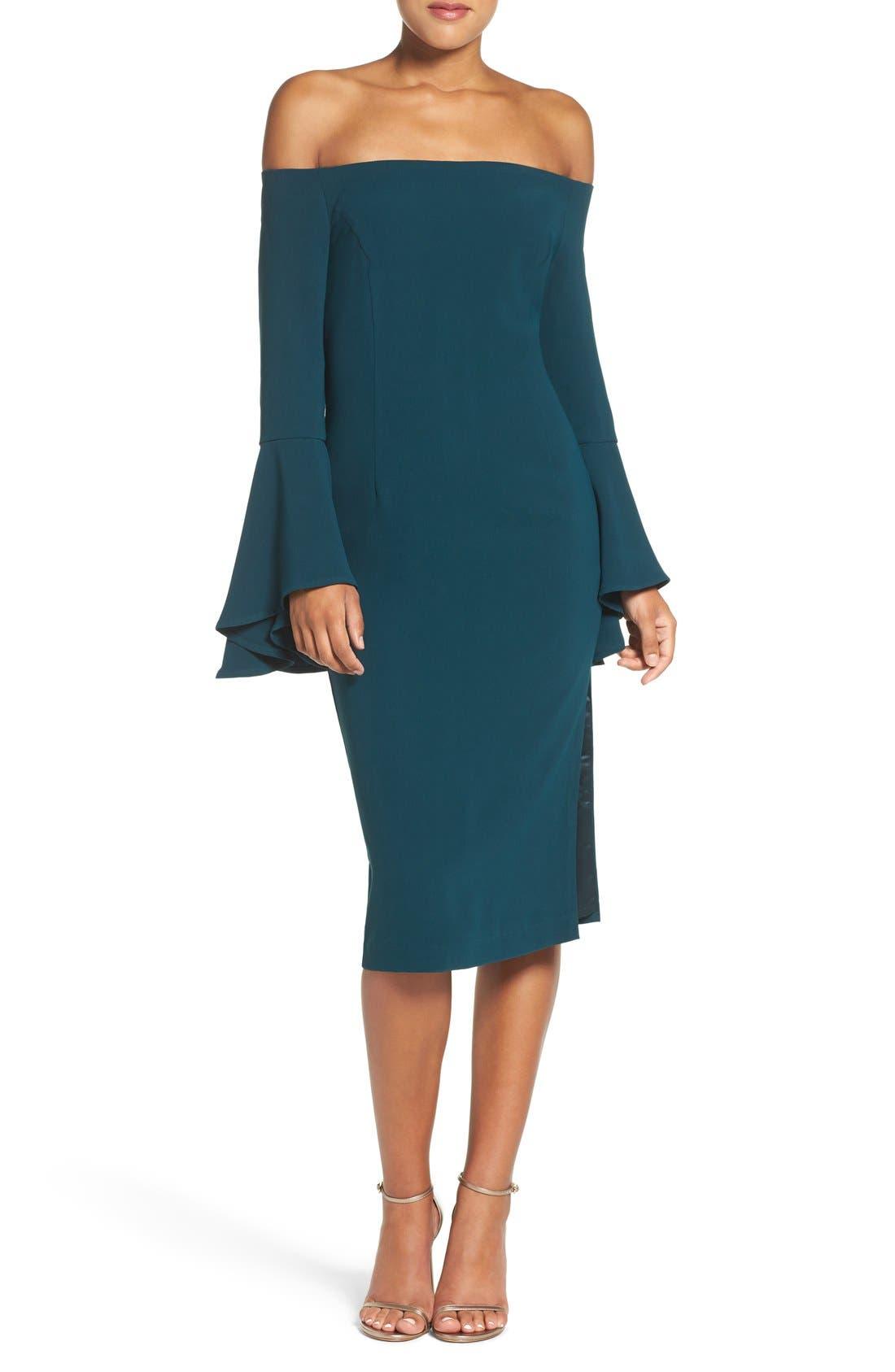 'Solange' Off the Shoulder Midi Dress,                             Main thumbnail 1, color,                             Teal
