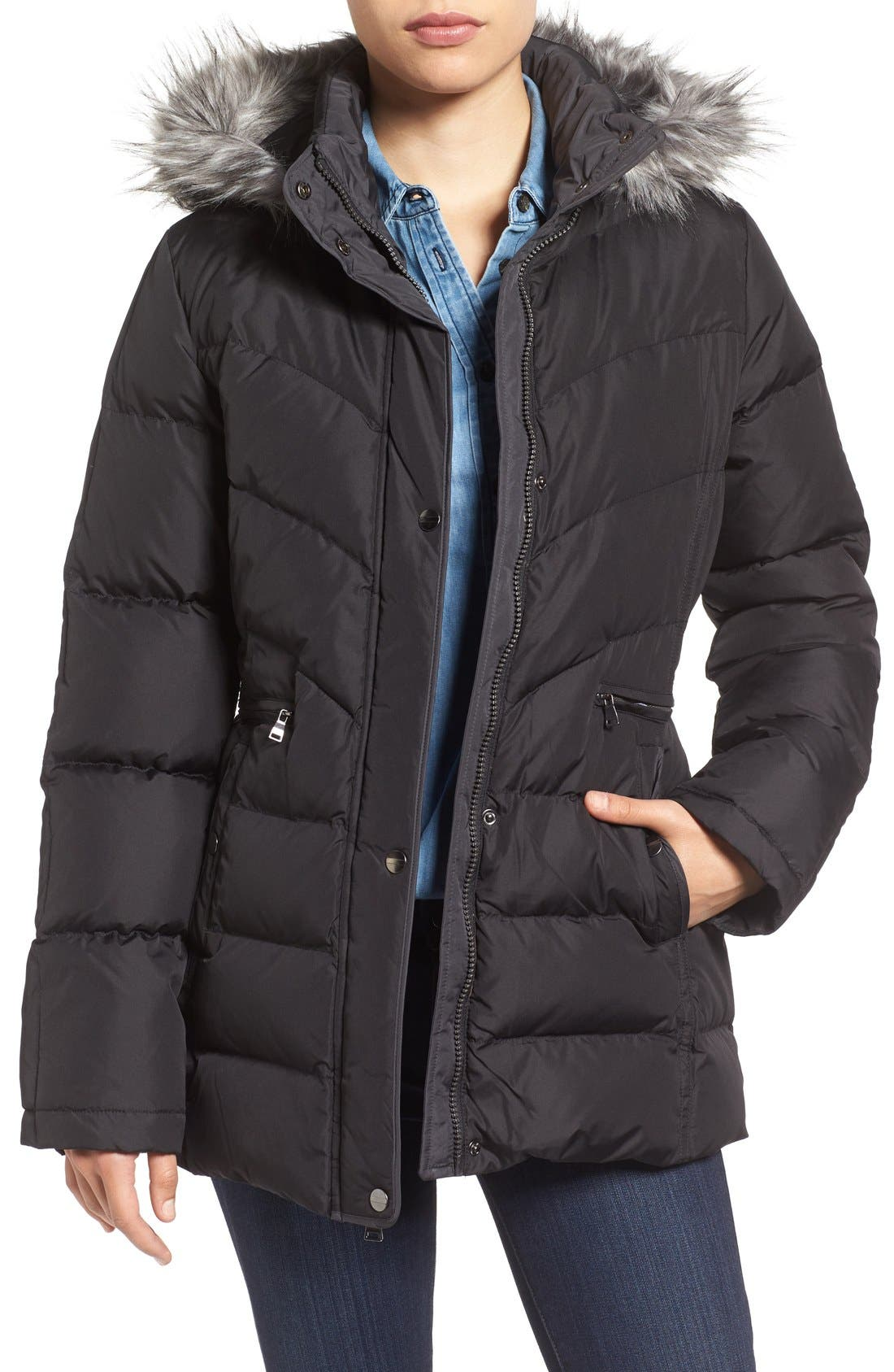 Larry Levine Quilted Coat with Faux Fur Trim