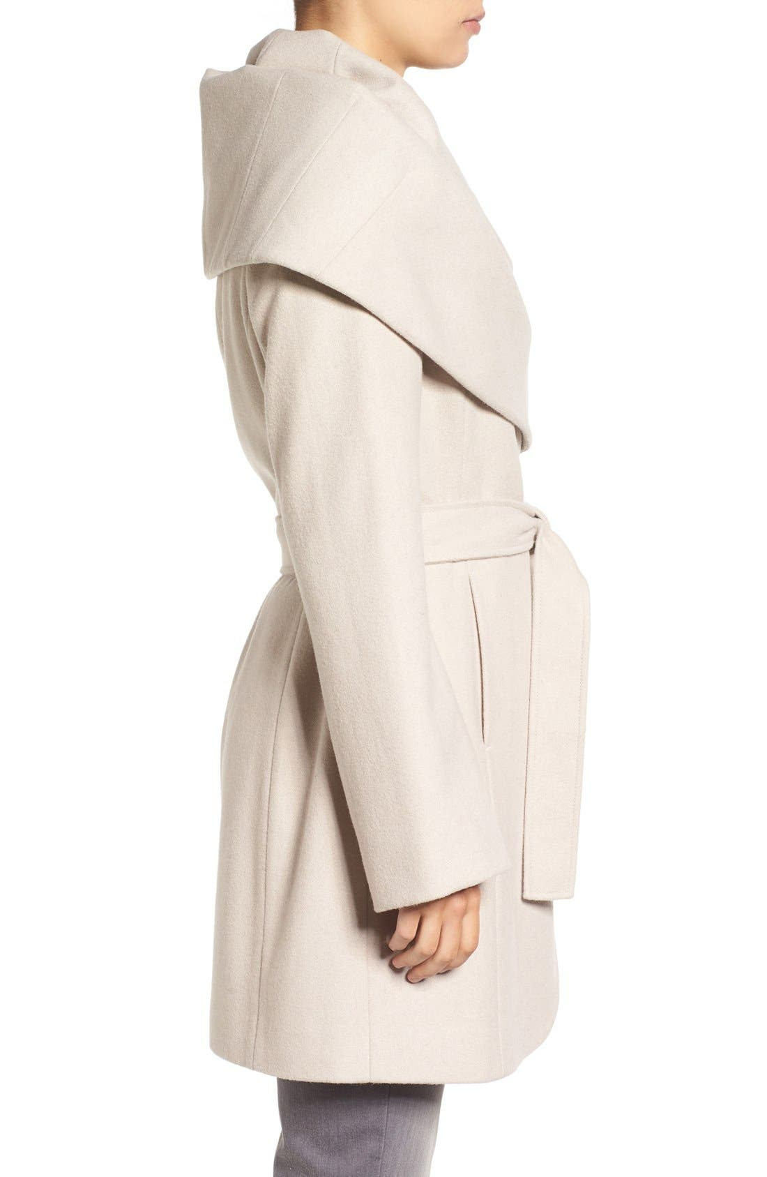 Alternate Image 3  - T Tahari Wool Blend Belted Wrap Coat