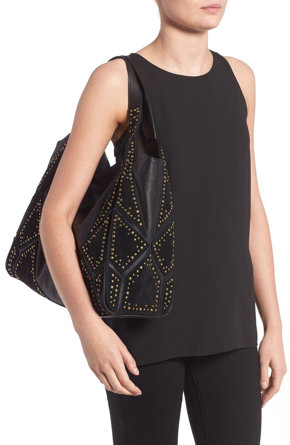 'Jlora' Studded Hobo Bag,                             Alternate thumbnail 6, color,                             Black