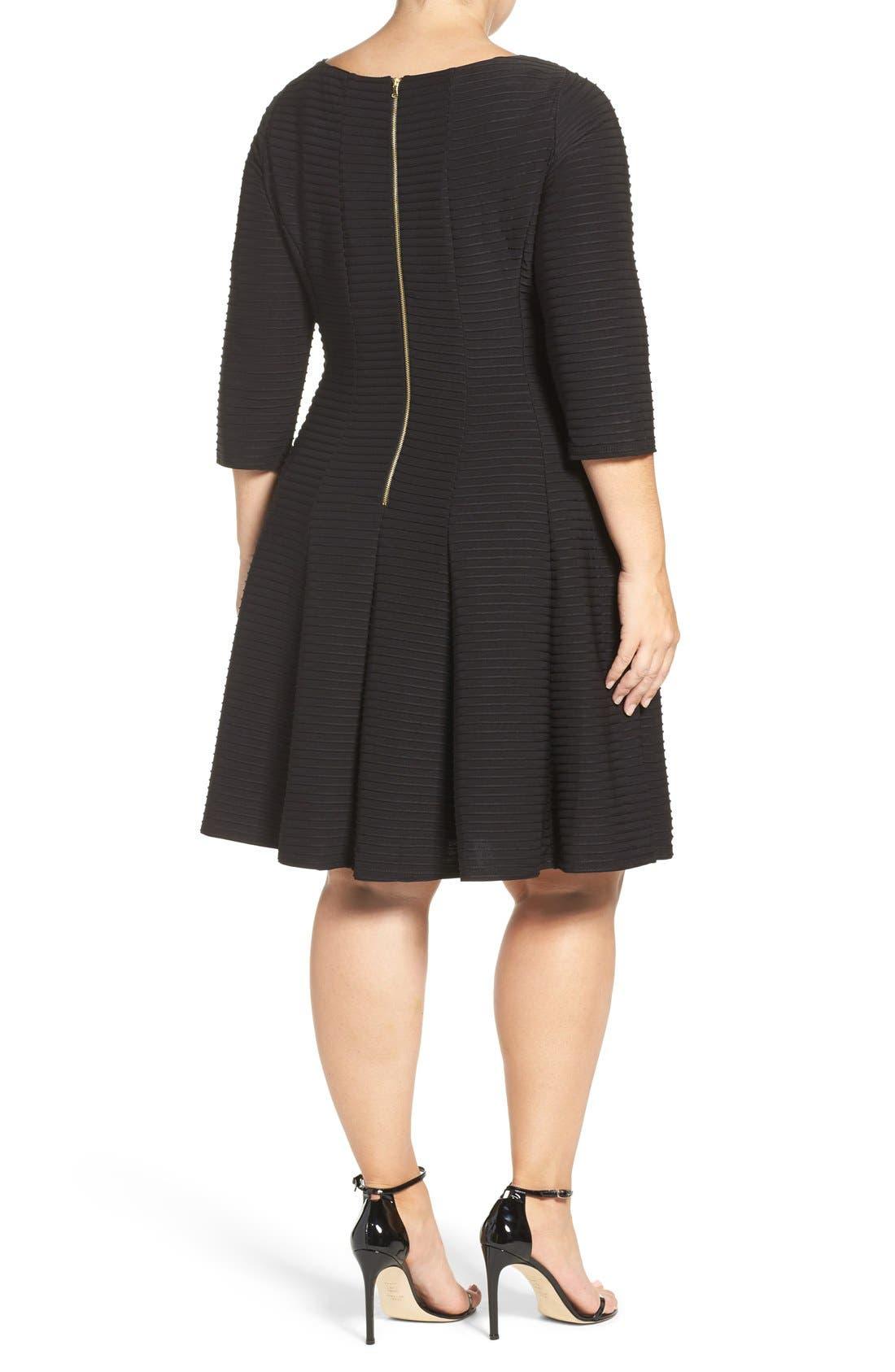 Alternate Image 2  - Gabby Skye Pintuck Knit Fit & Flare Dress (Plus Size)