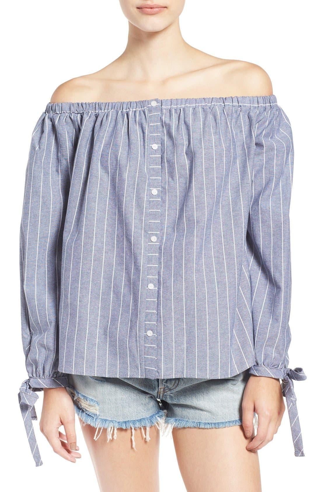 Main Image - BP. Stripe Off the Shoulder Blouse