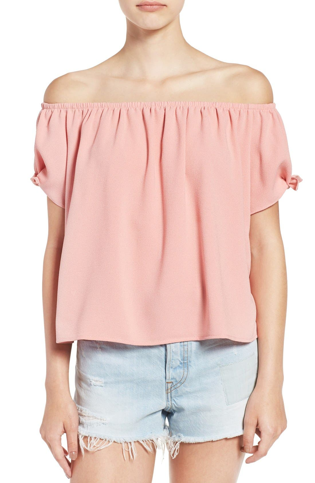 Off the Shoulder Short Sleeve Top,                         Main,                         color, Pink Salmon
