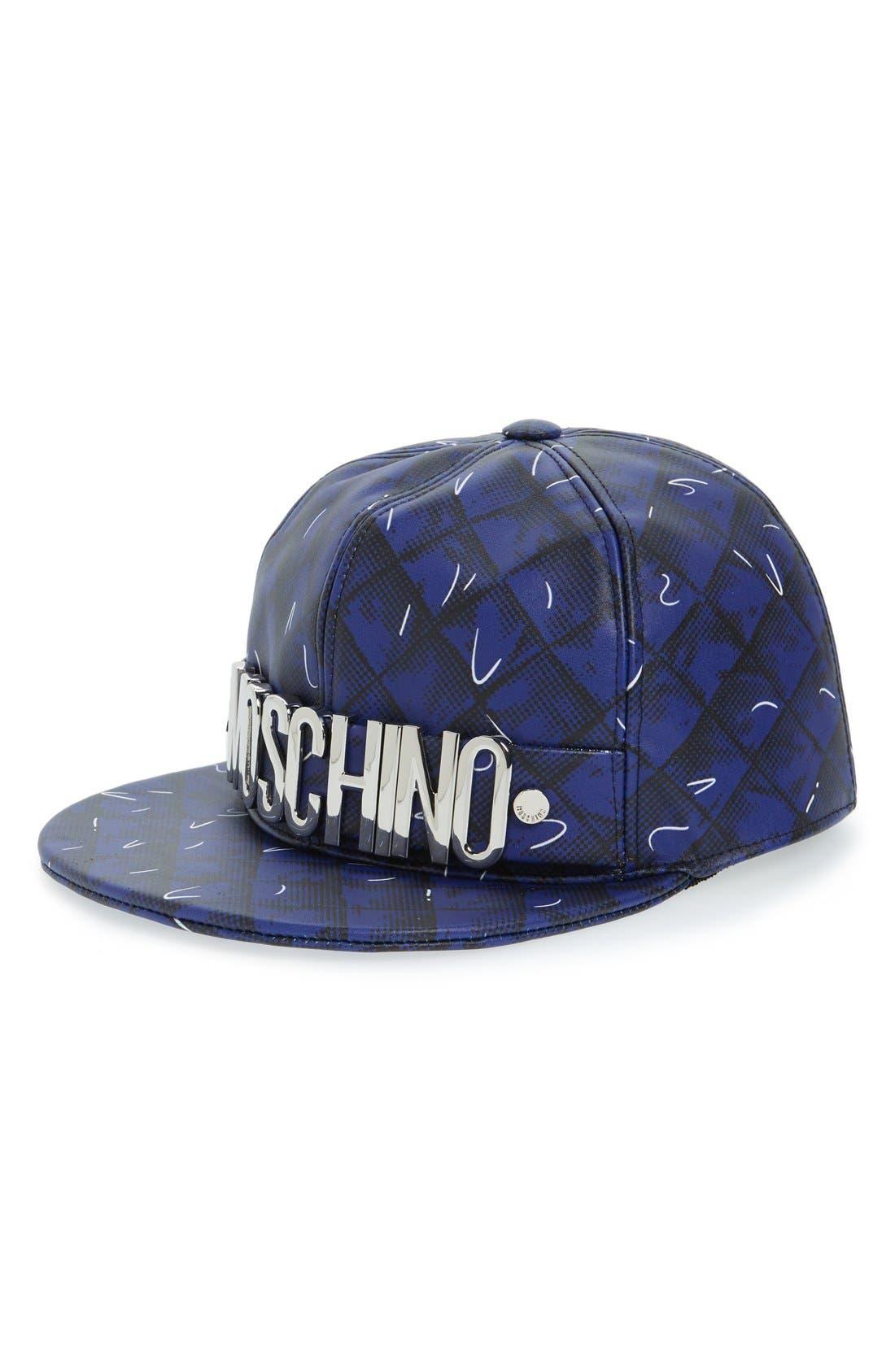 'Shadow' Leather Baseball Cap,                         Main,                         color, Fantasy Print Blue