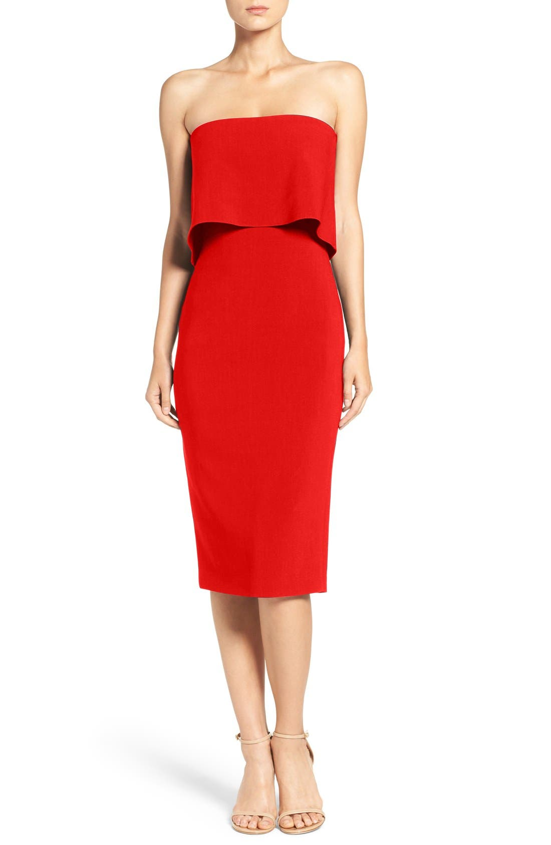 'Driggs' Strapless Popover Sheath Dress,                             Main thumbnail 1, color,                             Scarlet