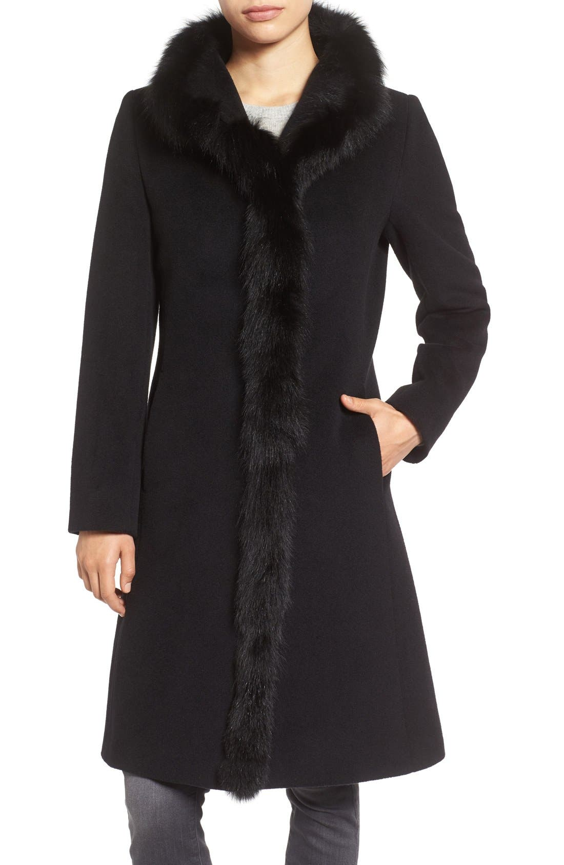 Cinzia Rocca Icons Genuine Fox Fur Trim Wool Coat (Regular & Petite)