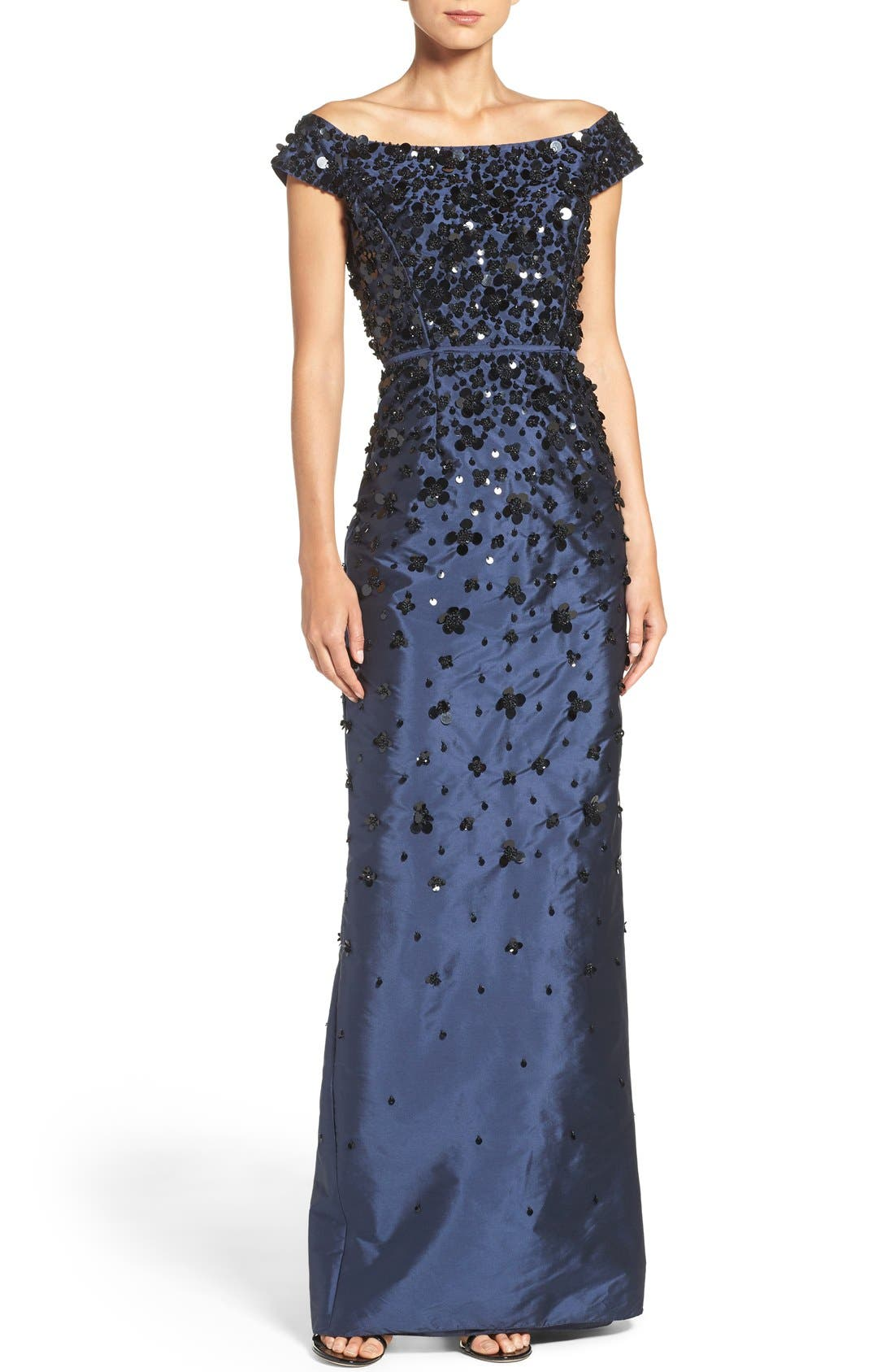 Main Image - Adrianna Papell Embellished Off the Shoulder Taffeta Gown