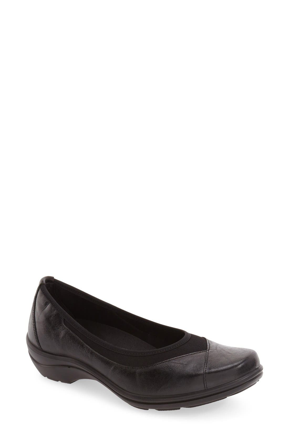 'Cassie 21' Wedge Flat,                         Main,                         color, Black Leather