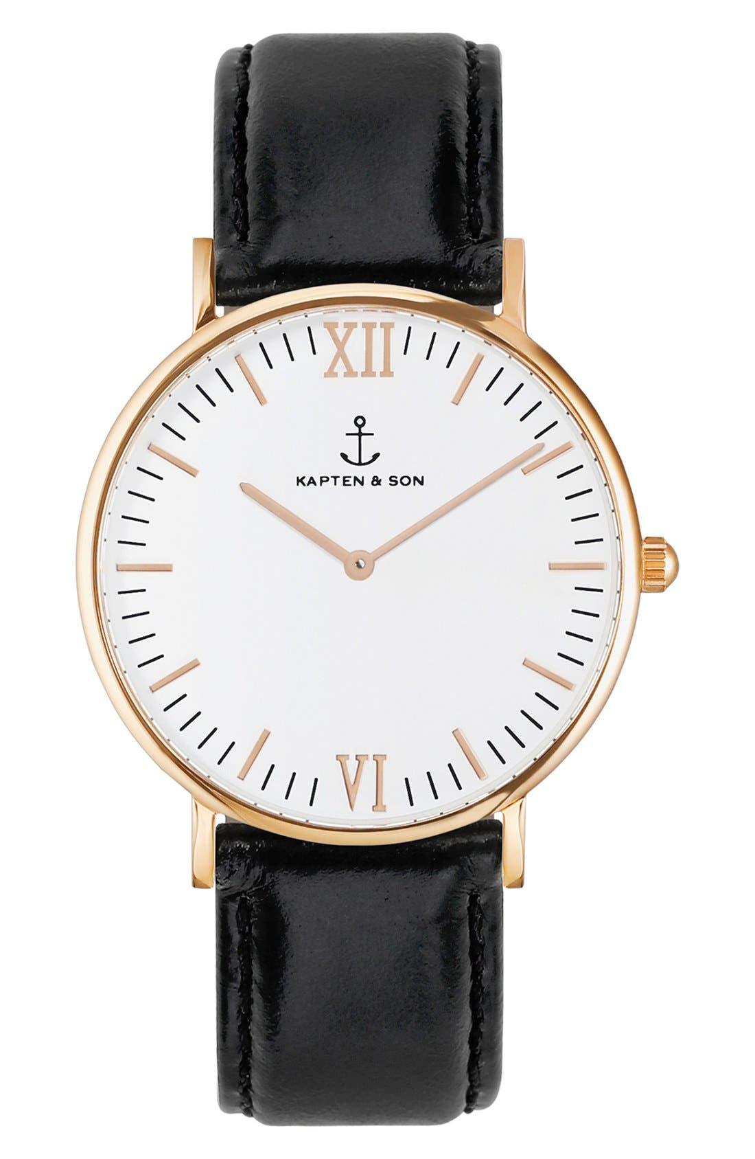 Campina Leather Strap Watch, 36mm,                         Main,                         color, Black/ White/ Rosegold