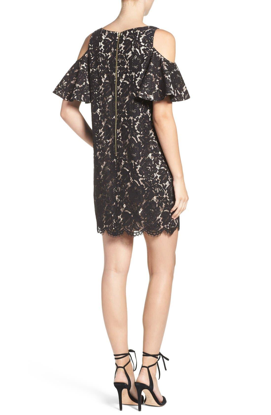 Cold Shoulder Lace Shift Dress,                             Alternate thumbnail 2, color,                             Black