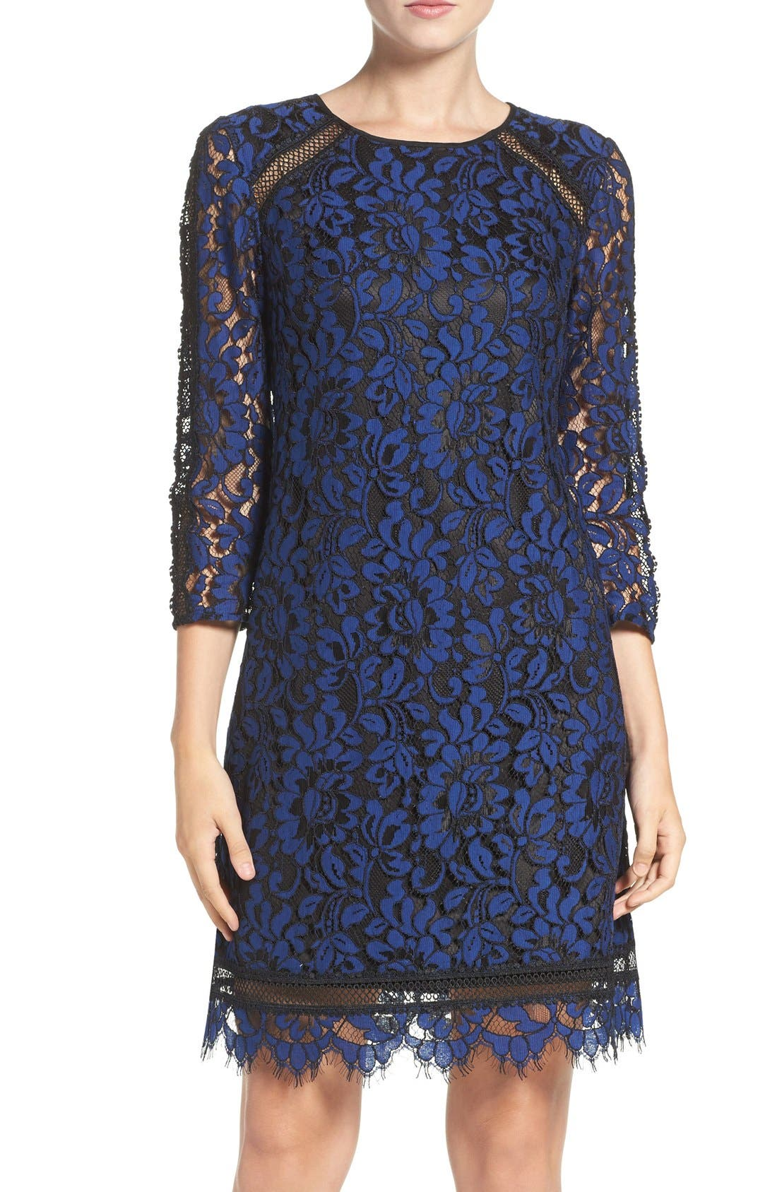 Main Image - Eliza J Inset Lace Sheath Dress (Regular & Petite)