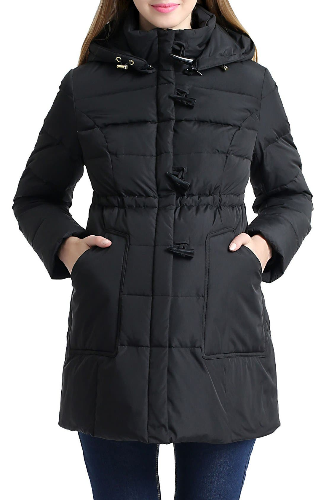 'Marlo' Water Resistant Down Maternity Parka,                         Main,                         color, Black