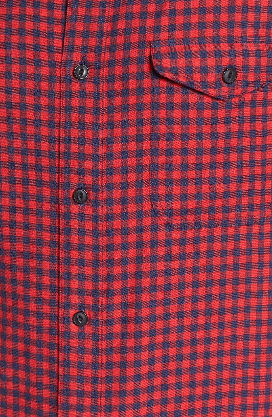 Alternate Image 5  - Nordstrom Men's Shop Slim Fit Gingham Flannel Sport Shirt
