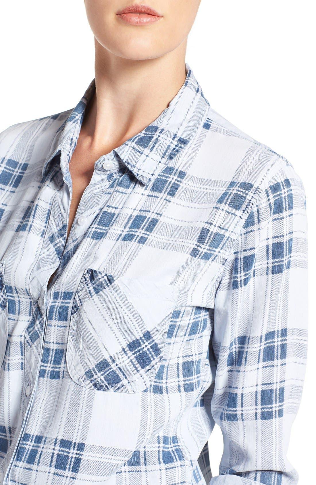 Carter Plaid Shirt,                             Alternate thumbnail 4, color,                             Pigment Plaid