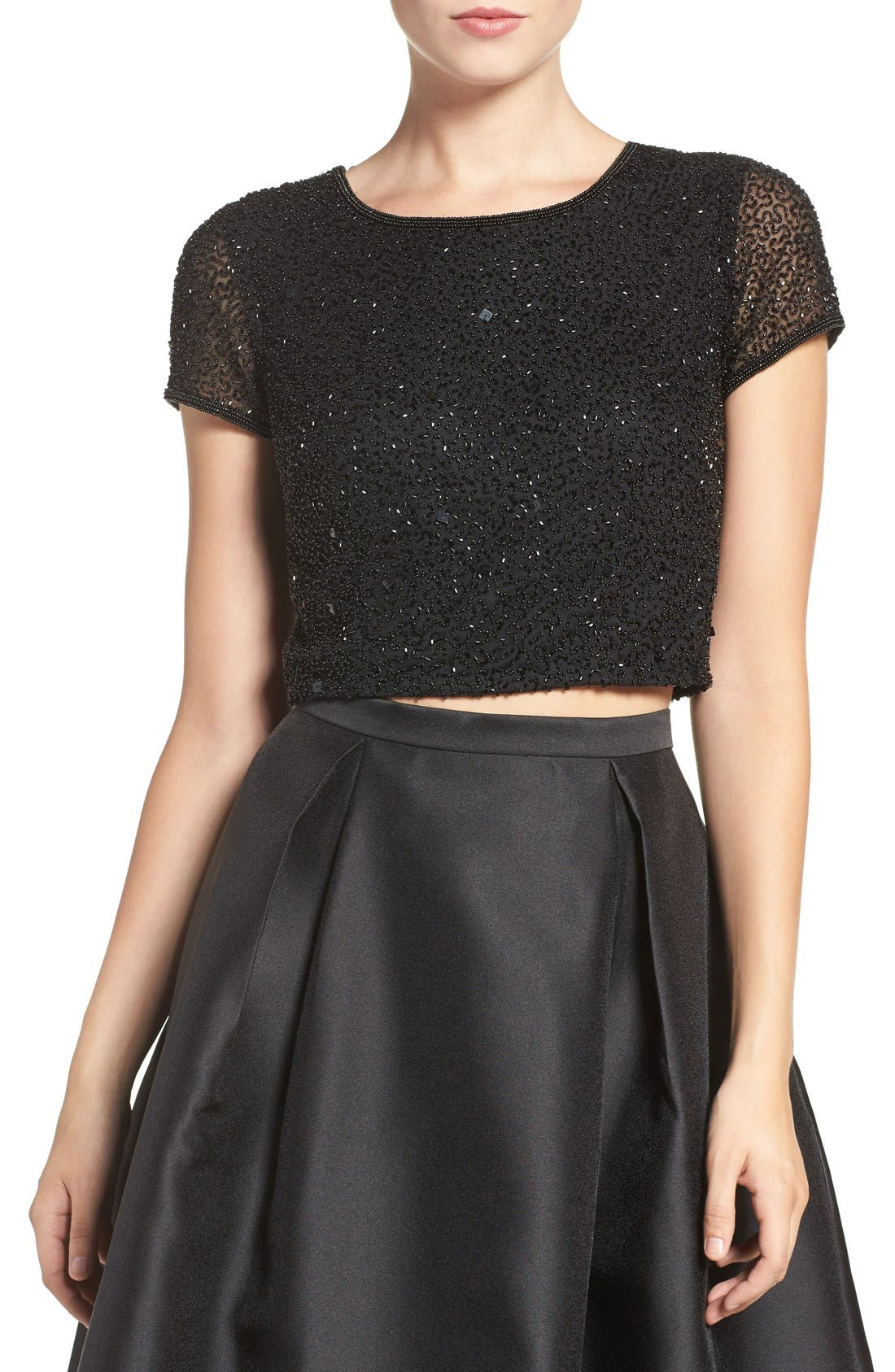Alternate Image 1 Selected - Adrianna Papell Beaded Crop Top