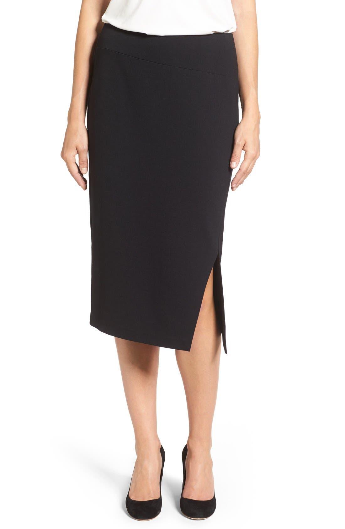 Slit Pencil Skirt,                         Main,                         color, Rich Black
