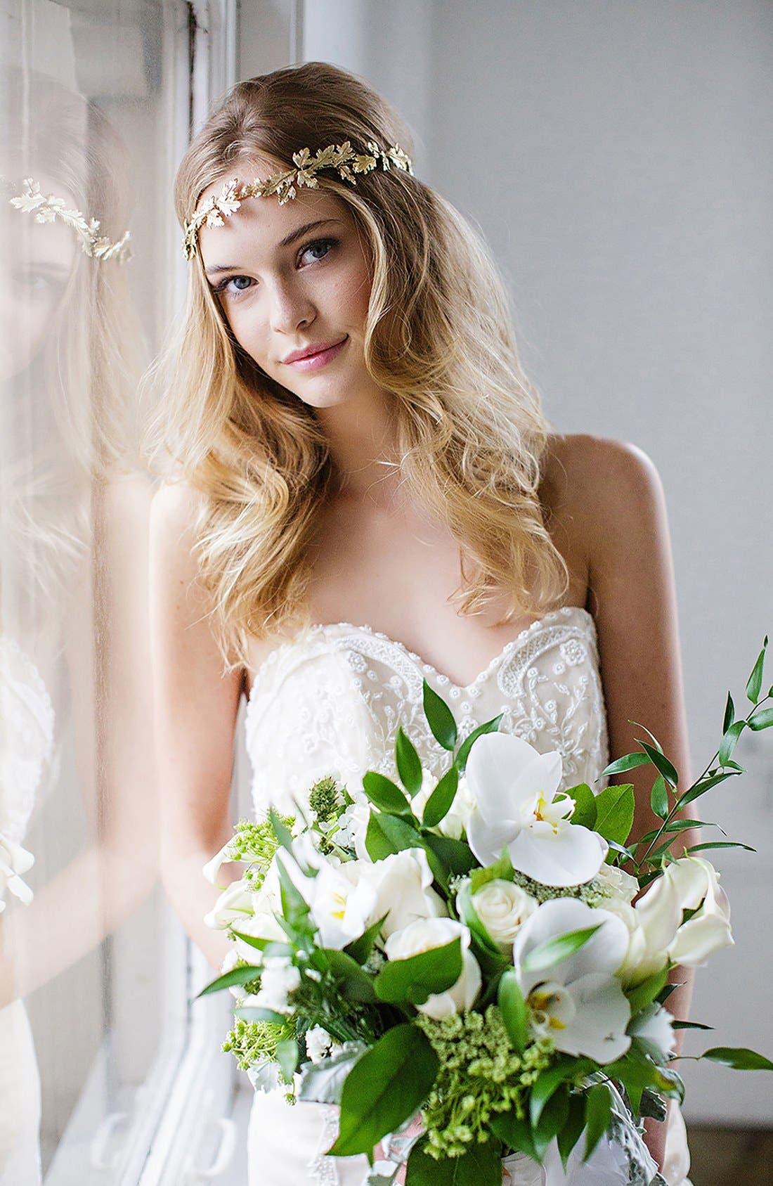 Main Image - Brides & Hairpins Paula Grecian Leaf Halo & Sash