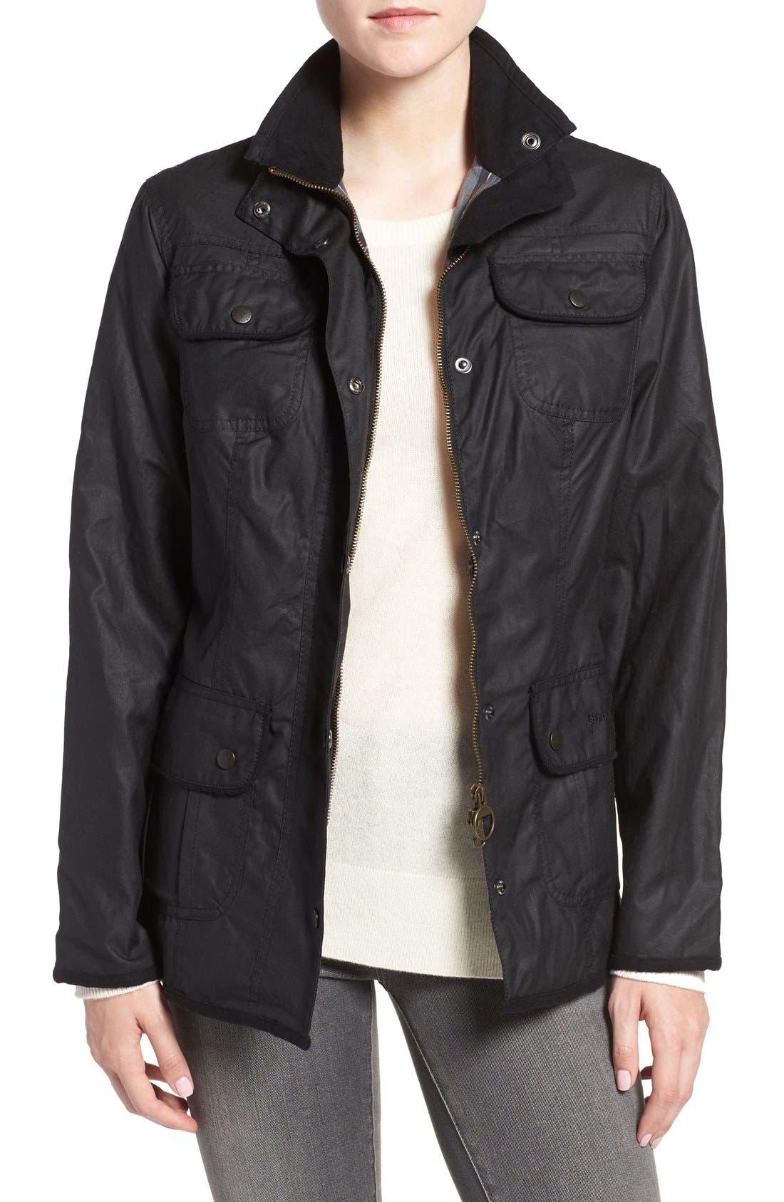 Waxed Cotton Utility Jacket,                         Main,                         color, Black