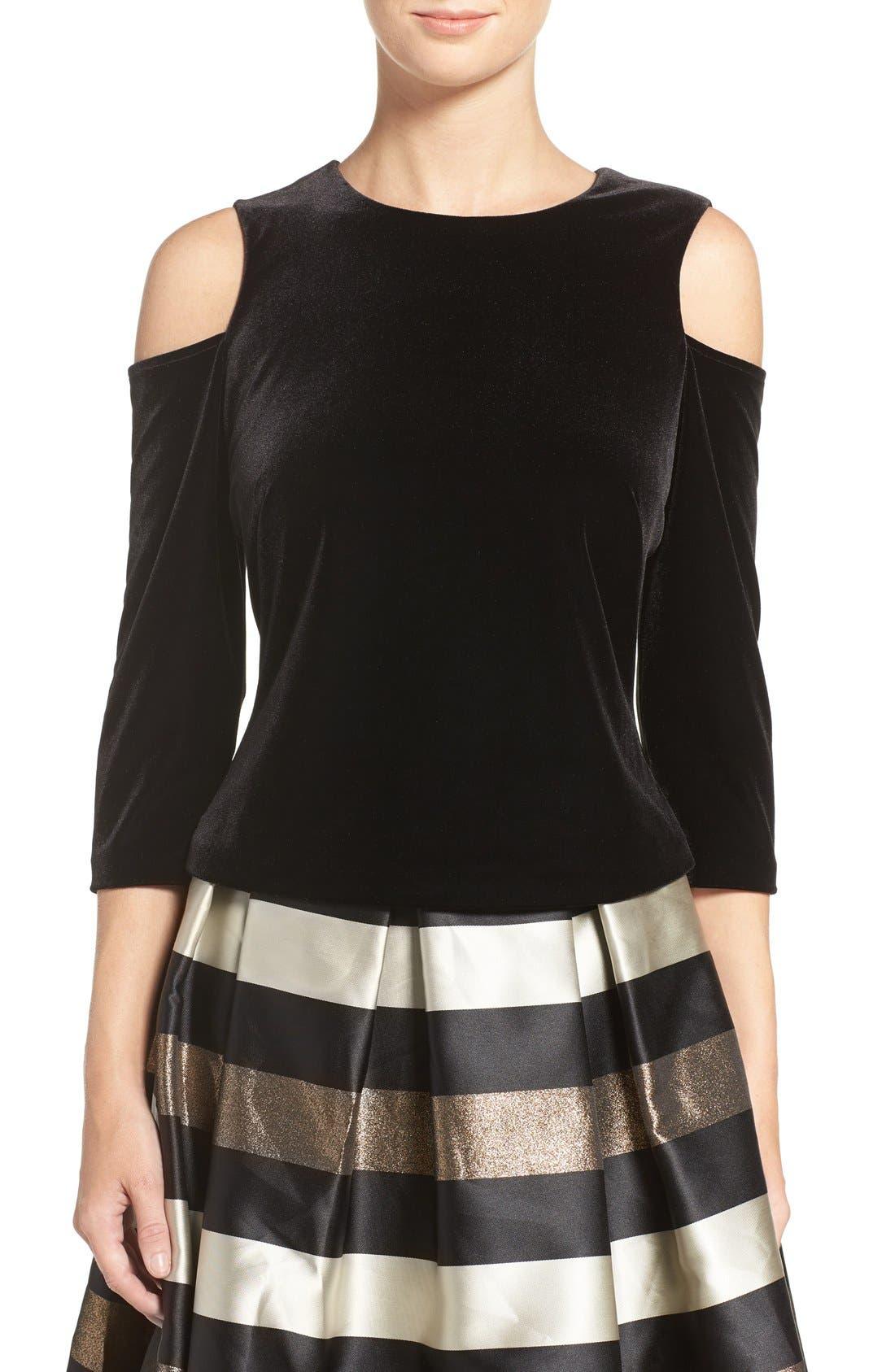 Cold Shoulder Velvet Top,                         Main,                         color, Black
