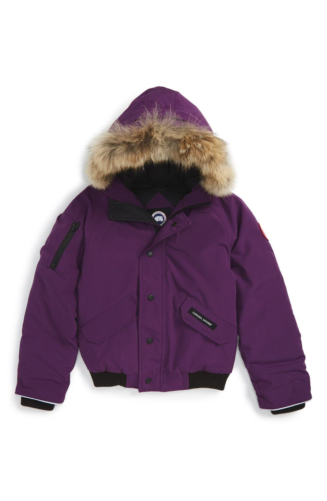 Alternate Image 1 Selected - Canada Goose 'Rundle' Down Bomber Jacket with Genuine Coyote Fur Trim (Little Kid & Big Kid)