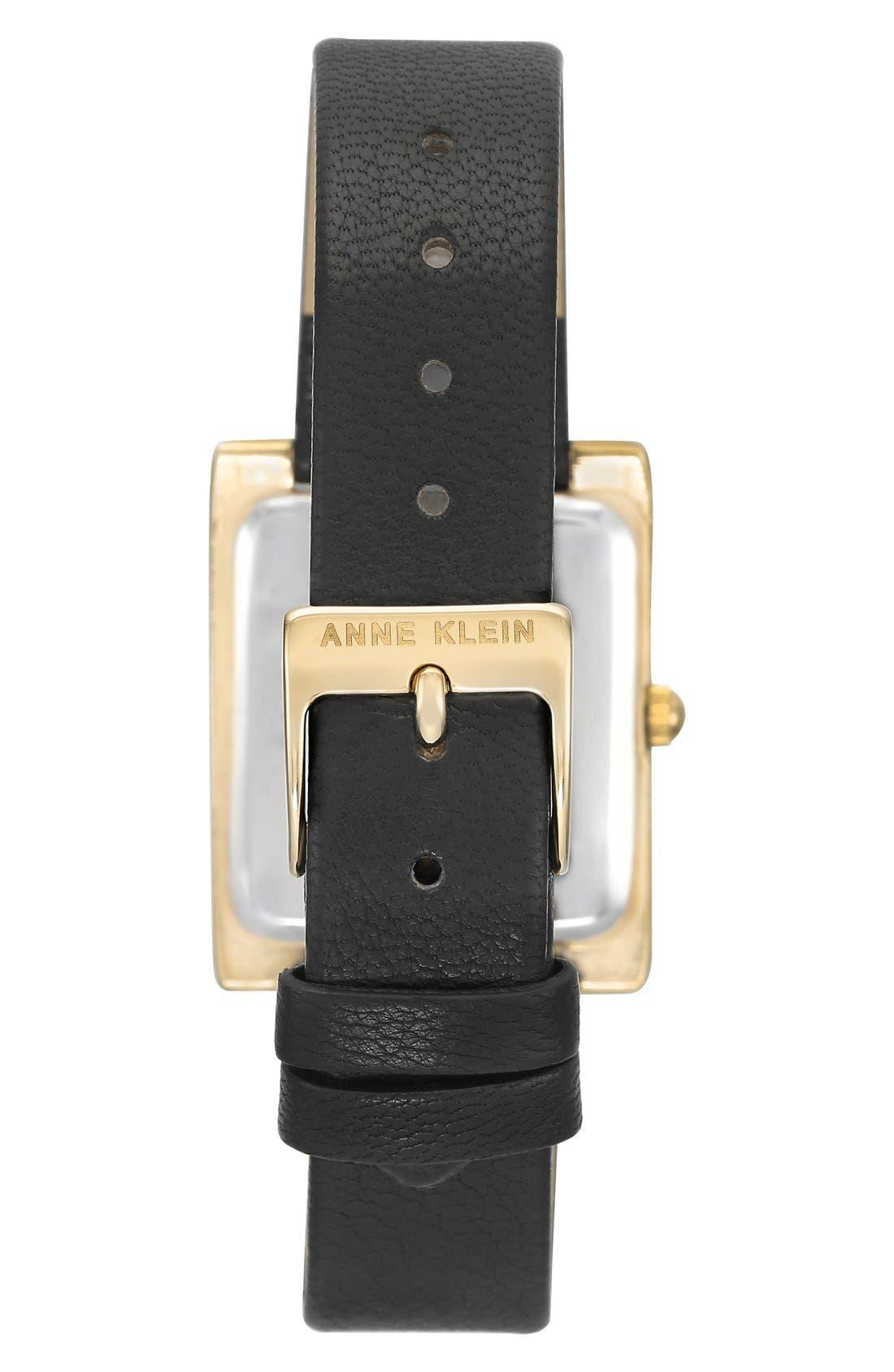 Alternate Image 2  - Anne Klein Rectangular Leather Strap Watch, 28mm x 35mm
