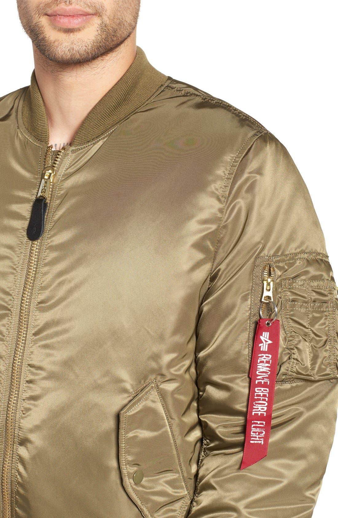 'MA-1' Slim Fit Bomber Jacket,                             Alternate thumbnail 4, color,                             Vintage Olive