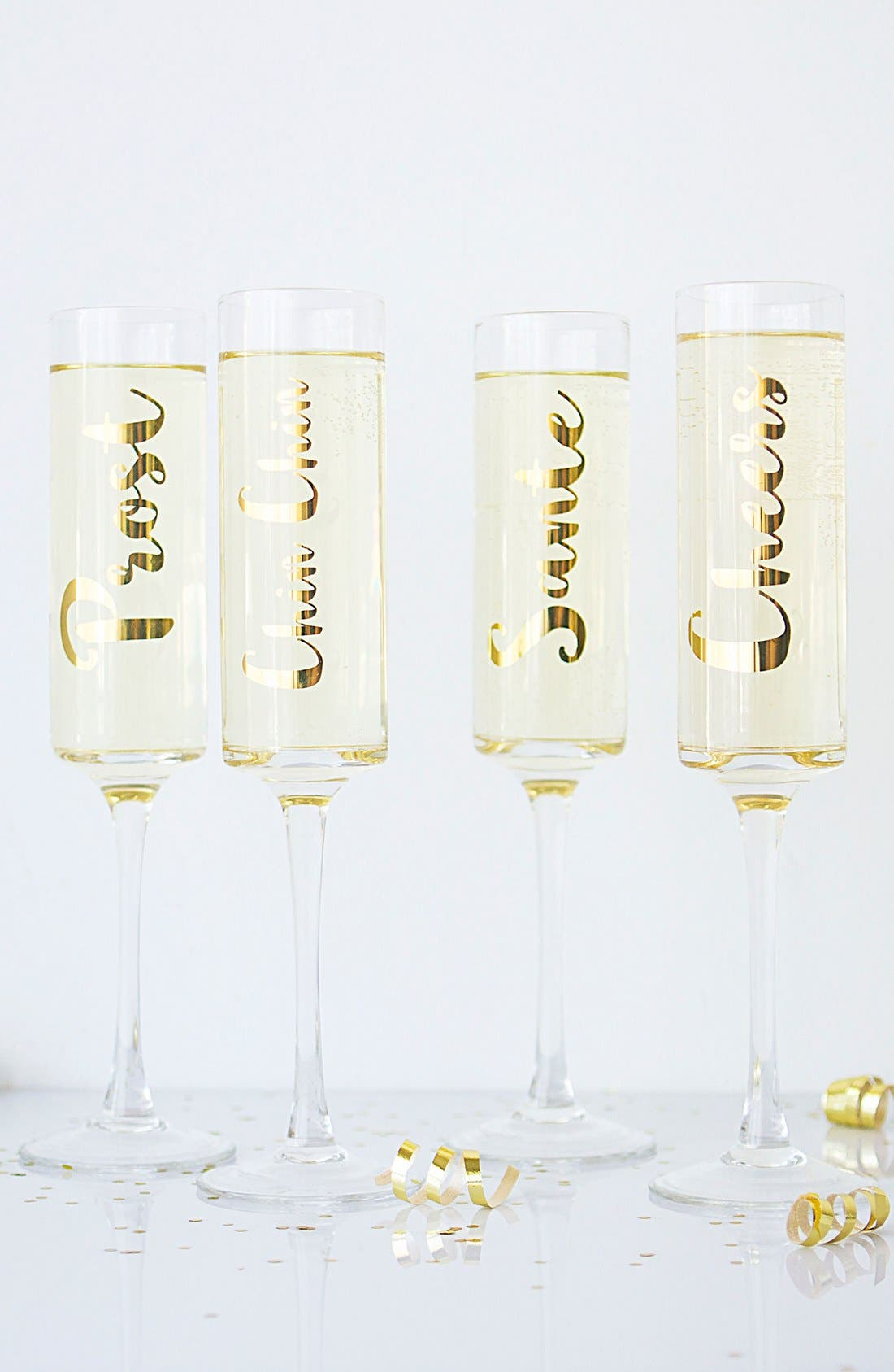 'Cheers' Champagne Flutes,                             Alternate thumbnail 5, color,                             Gold