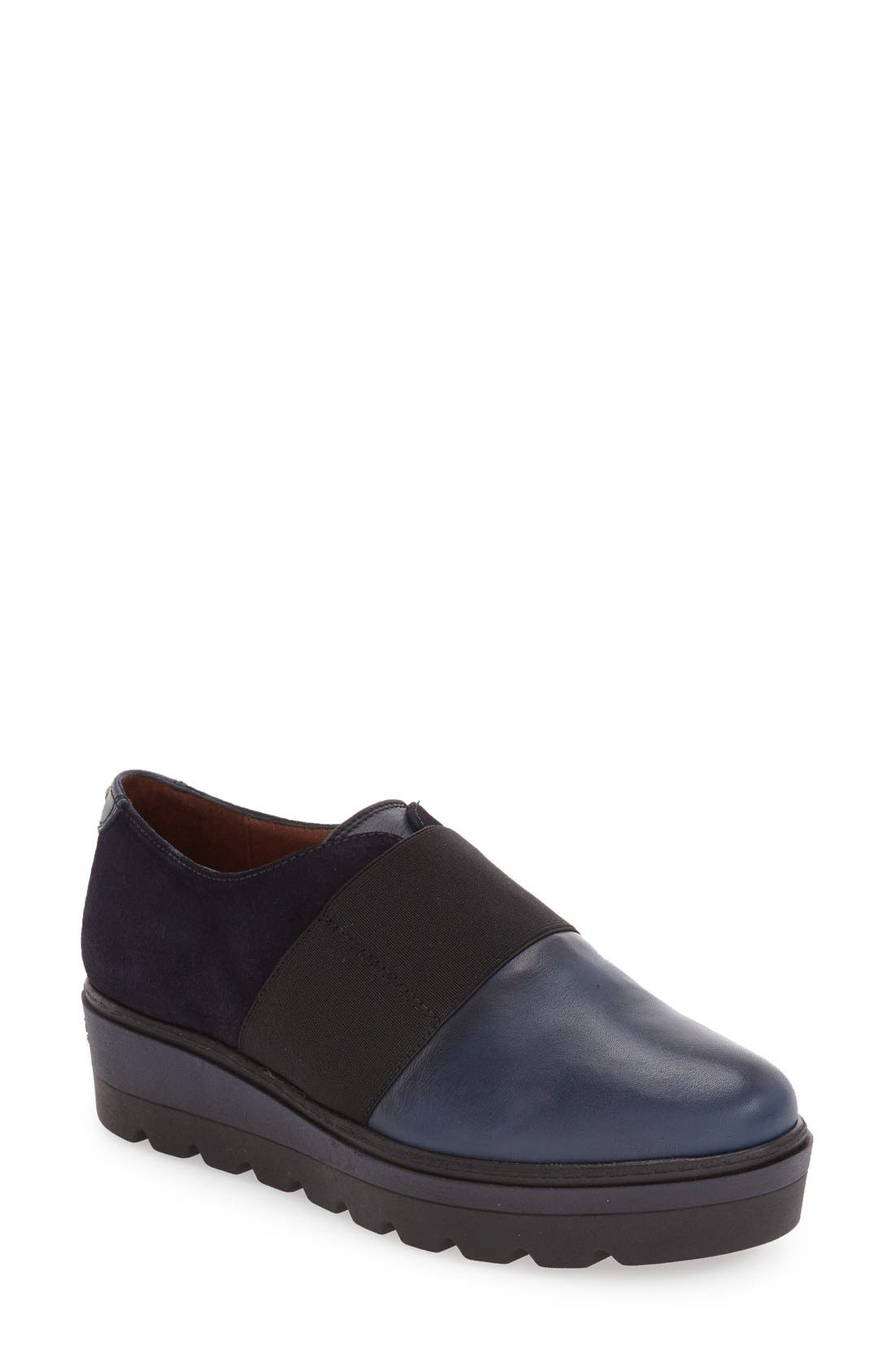 'Ardia' Slip-On Platform Flat,                             Main thumbnail 1, color,                             Soho Blue Leather