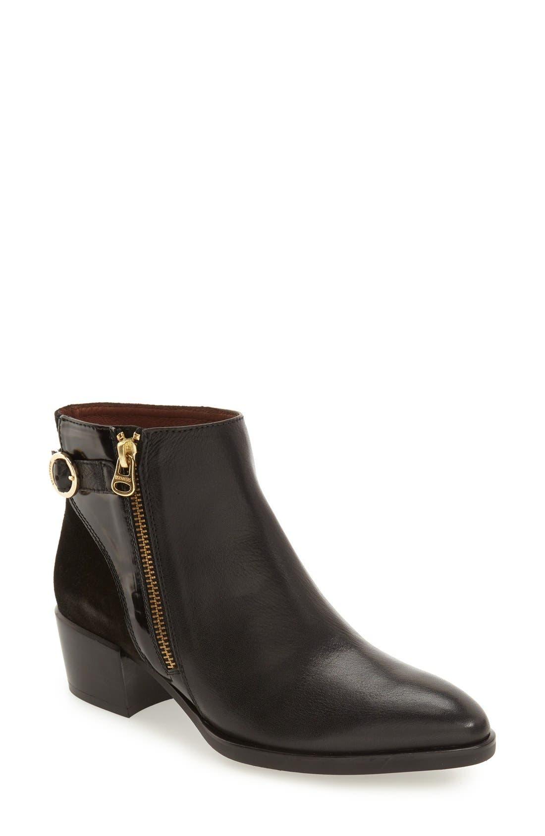 Lakisha Block Heel Bootie,                         Main,                         color, Black Leather