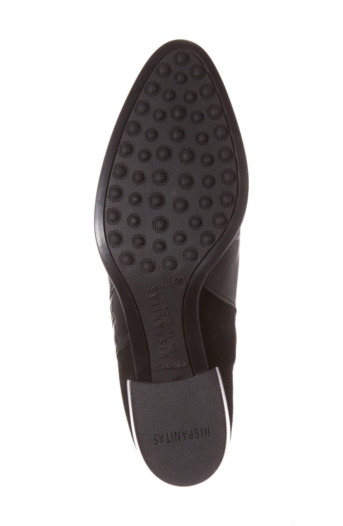 Lakisha Block Heel Bootie,                             Alternate thumbnail 4, color,                             Black Leather