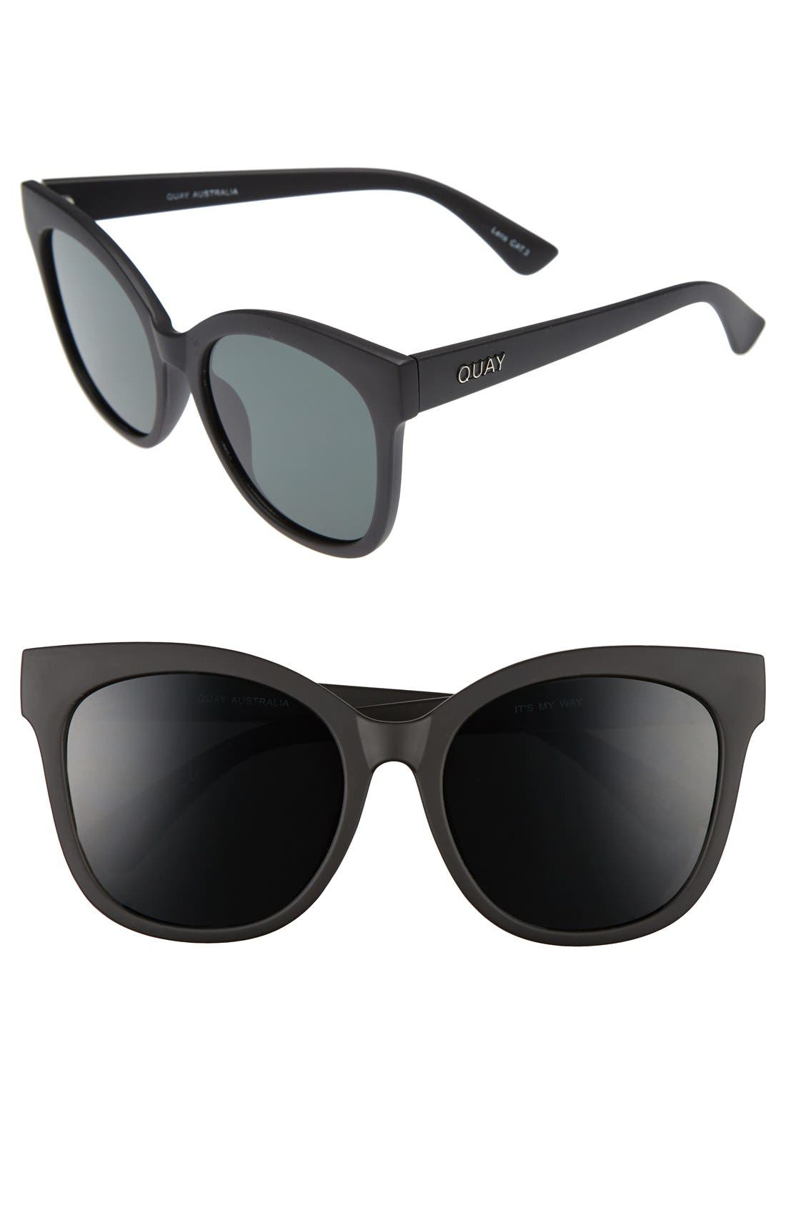 It's My Way 55mm Sunglasses,                             Main thumbnail 1, color,                             Black/ Smoke