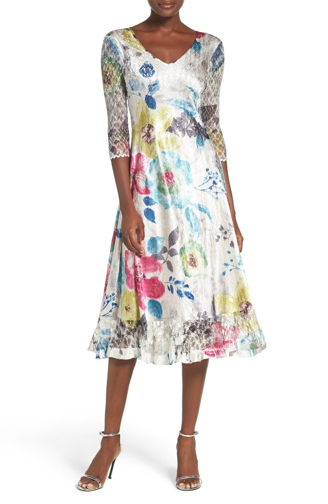 Main Image - Komarov Lace & Charmeuse A-Line Dress (Regular & Petite)