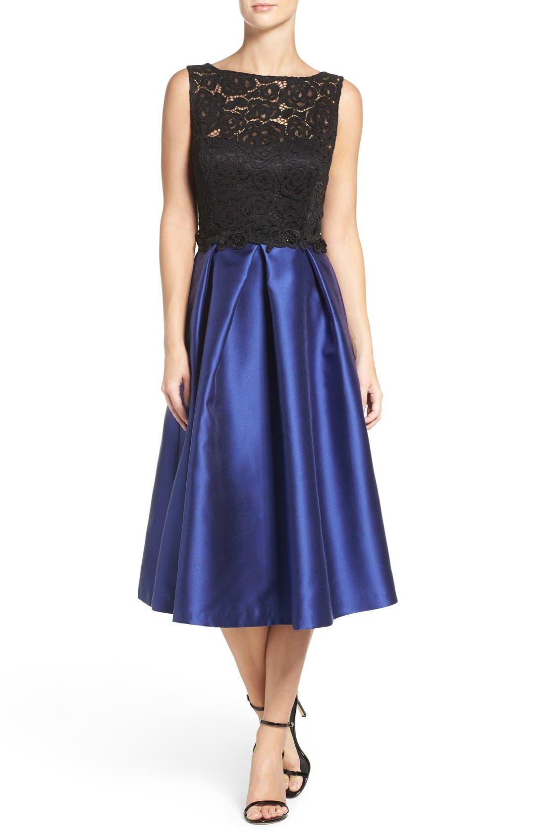 Lace Bodice Midi Dress,                         Main,                         color, Navy Black