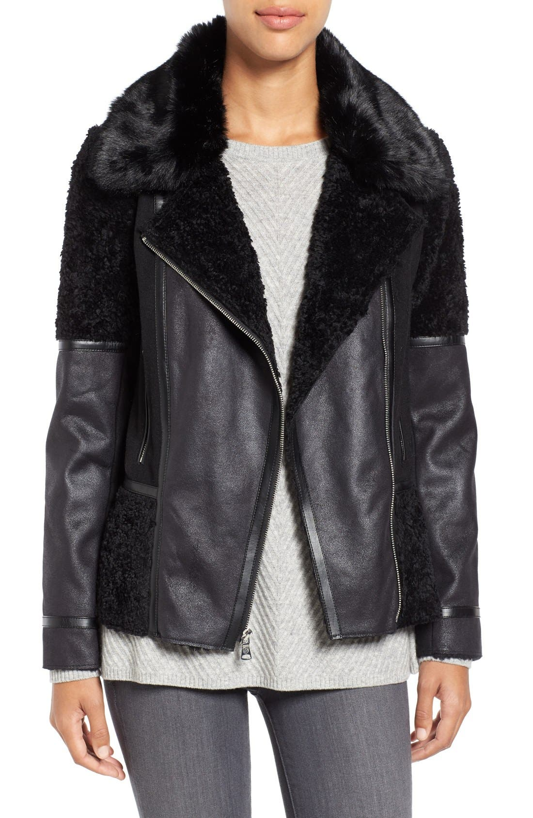 Main Image - Vince Camuto Mixed Media Faux Shearling Moto Jacket