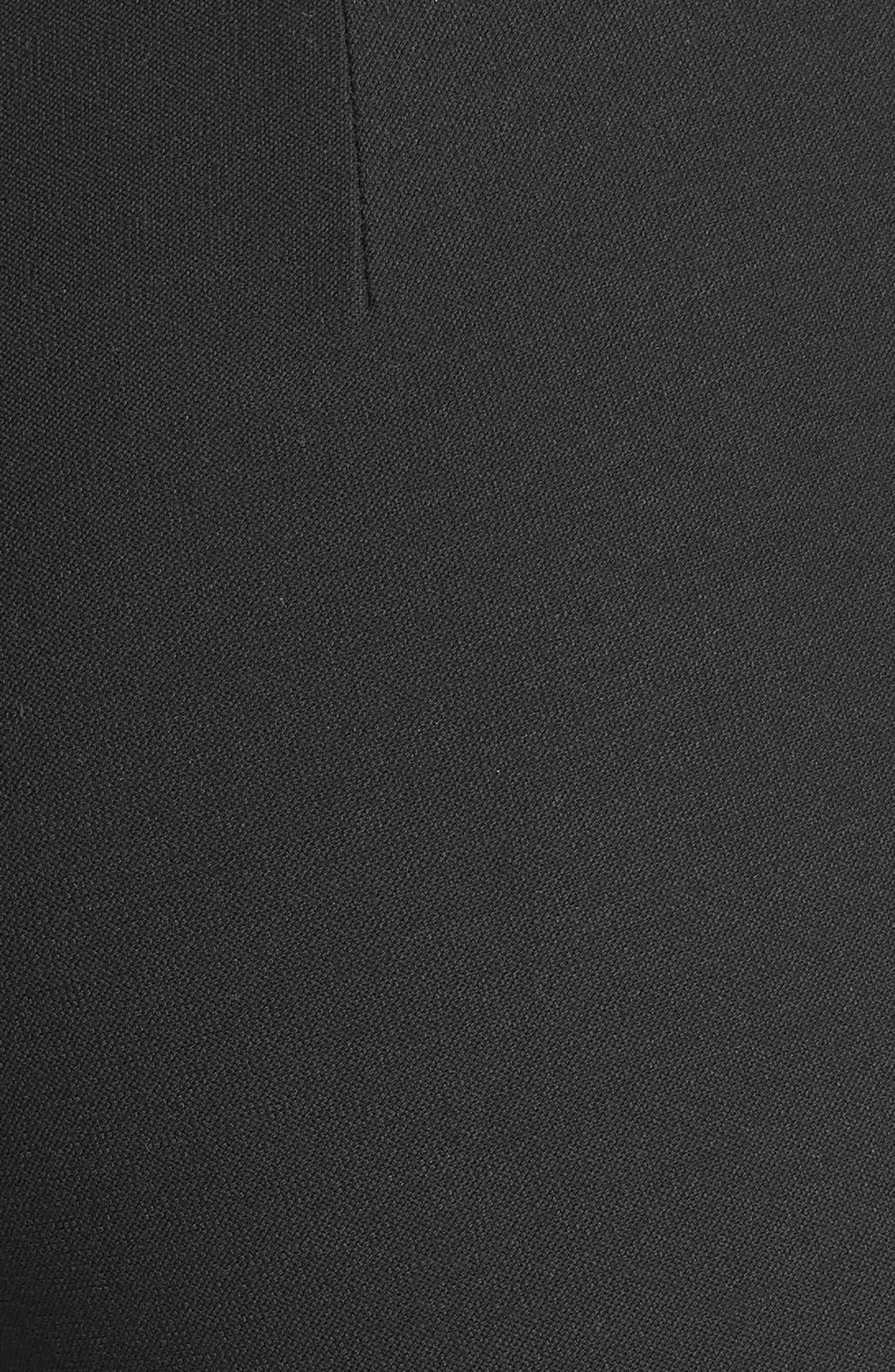 Straight Yoke Slim Crepe Knit Pants,                             Alternate thumbnail 3, color,                             Black