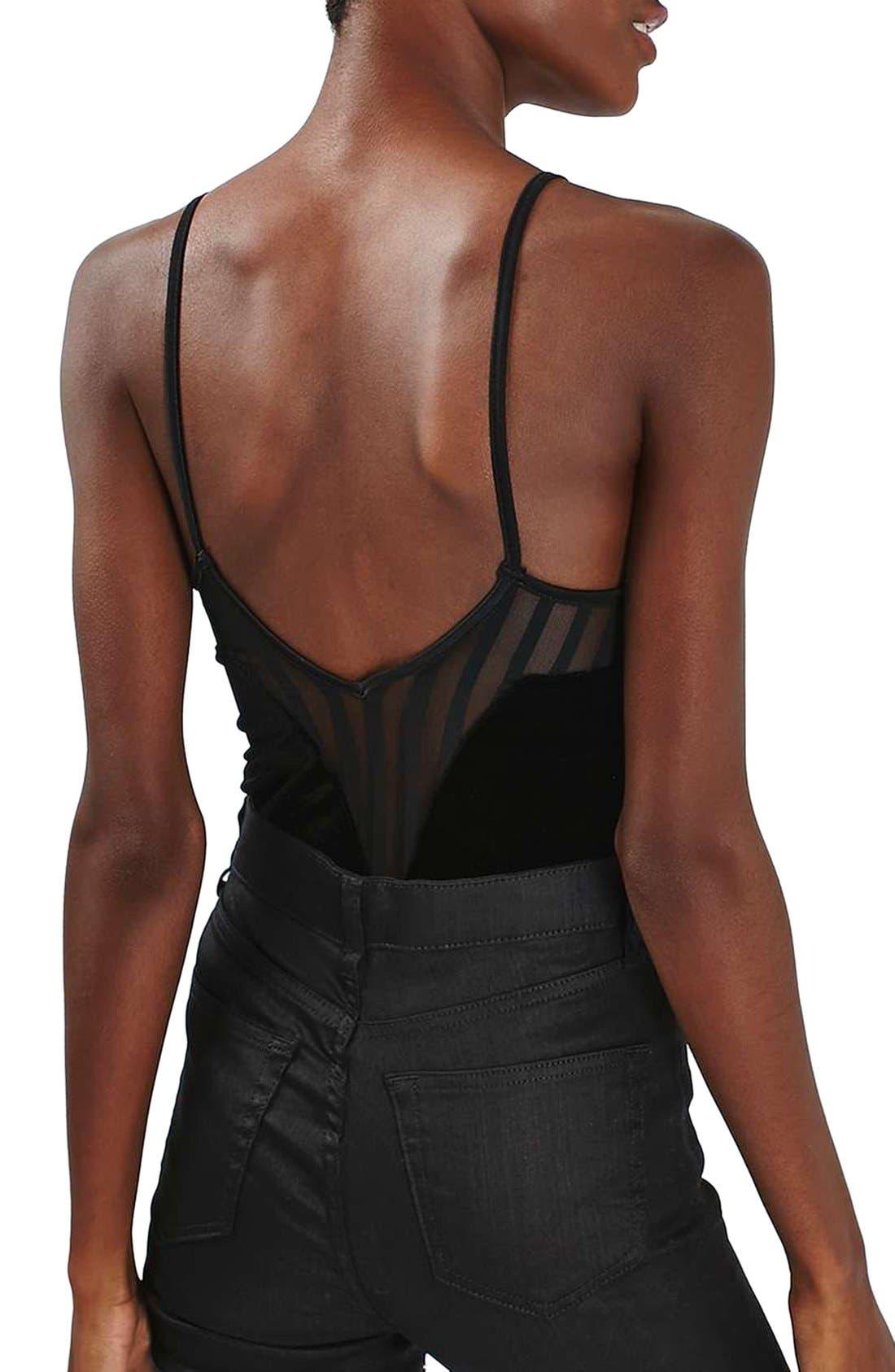 Alternate Image 3  - Topshop Illusion Velvet Bodysuit