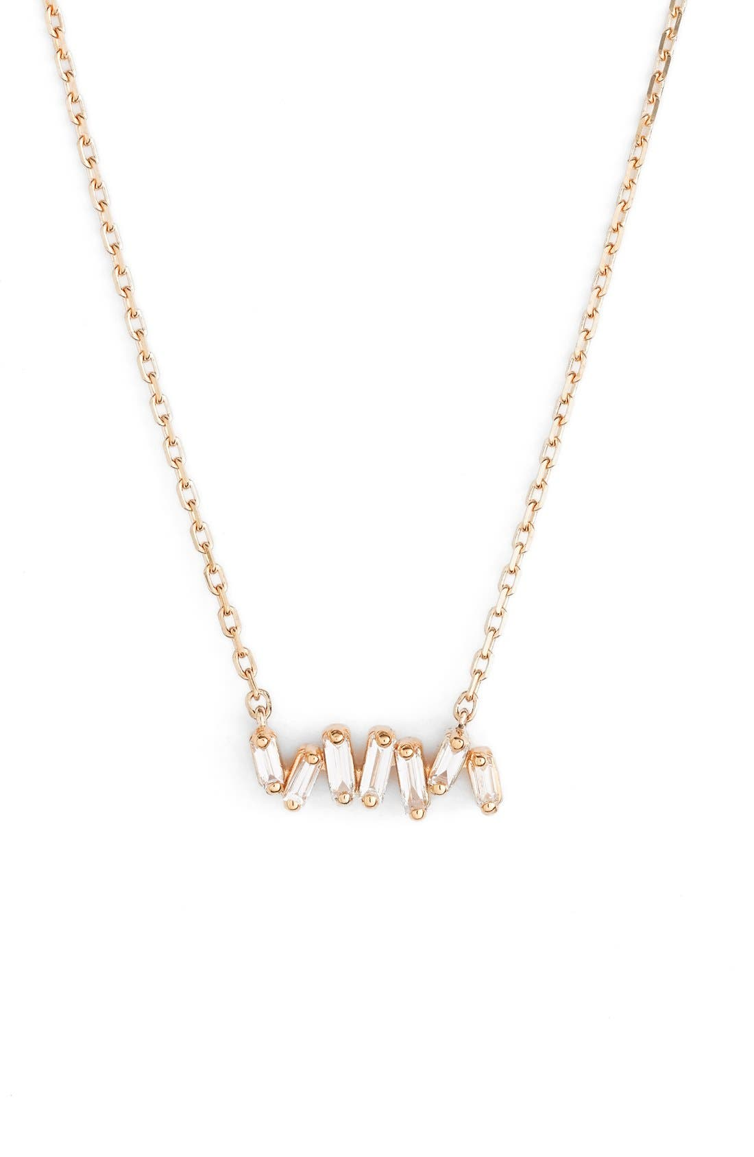 'Fireworks' Diamond Baguette Mini Bar Pendant Necklace,                         Main,                         color, Yellow Gold