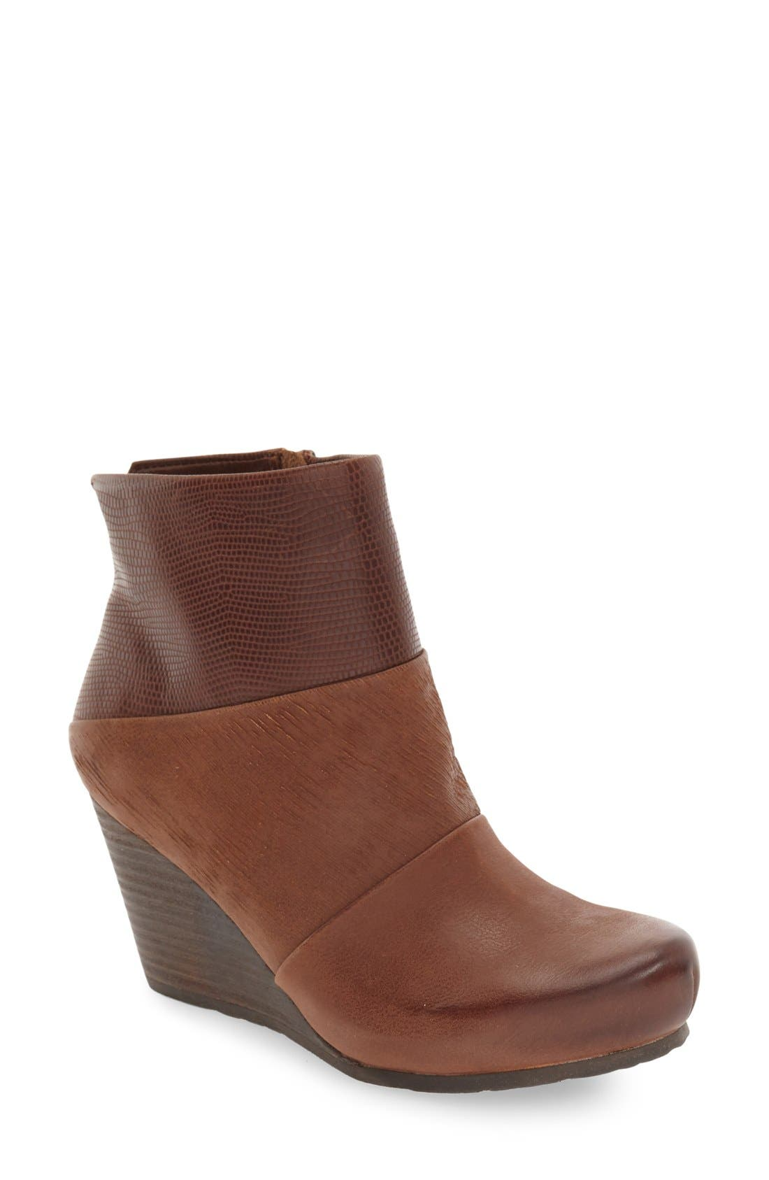 'Dharma' Wedge Bootie,                             Main thumbnail 1, color,                             Acorn Leather