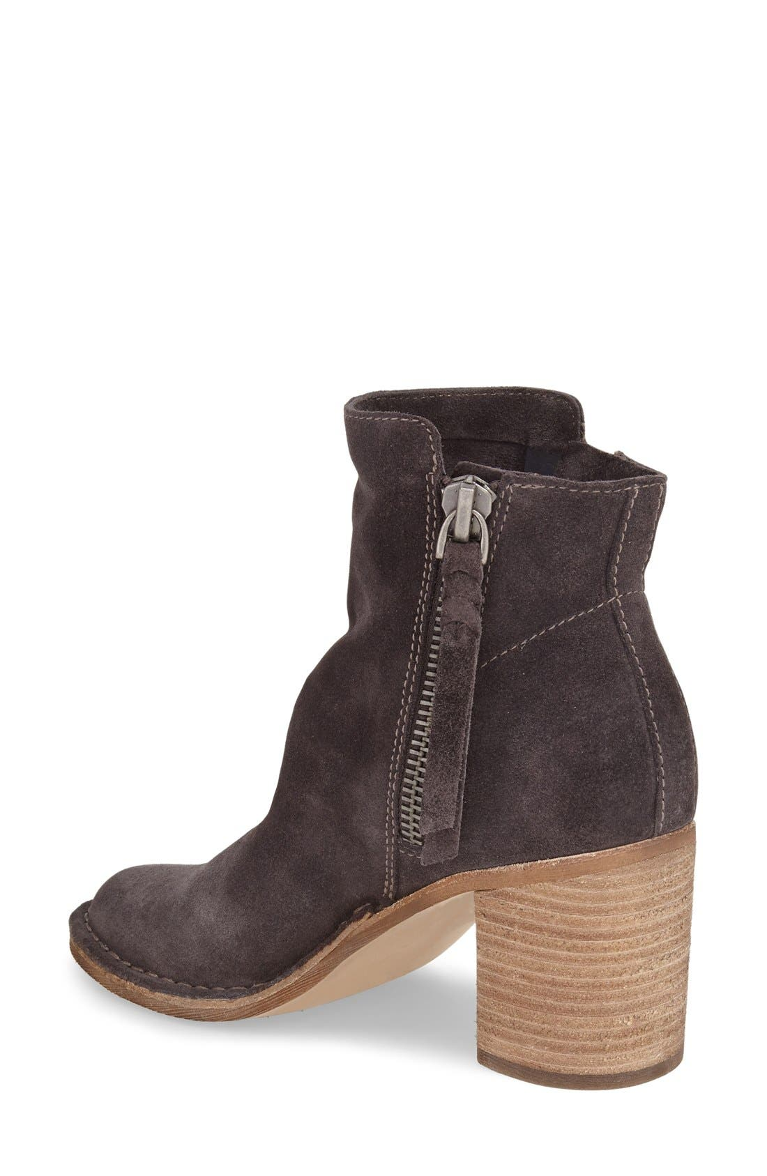 'Lana' Block Heel Bootie,                             Alternate thumbnail 2, color,                             Anthracite Suede