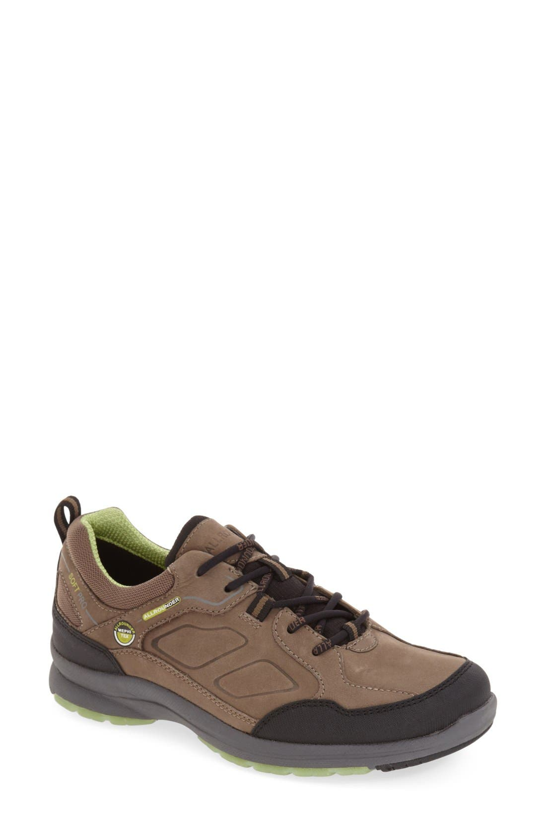 'Dascha Tex' Waterproof Sneaker,                             Main thumbnail 1, color,                             Black/ Fog Nubuck Leather