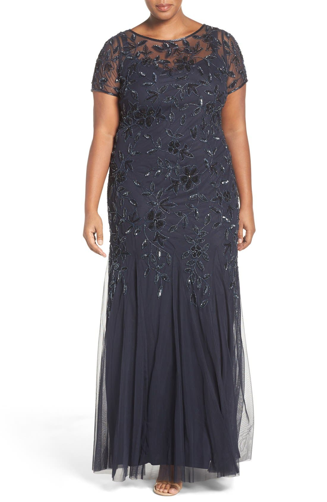 Floral Beaded Godet Gown,                         Main,                         color, Twilight
