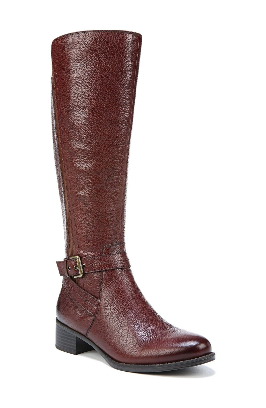 'Wynnie' Riding Boot,                             Main thumbnail 1, color,                             Brown Leather