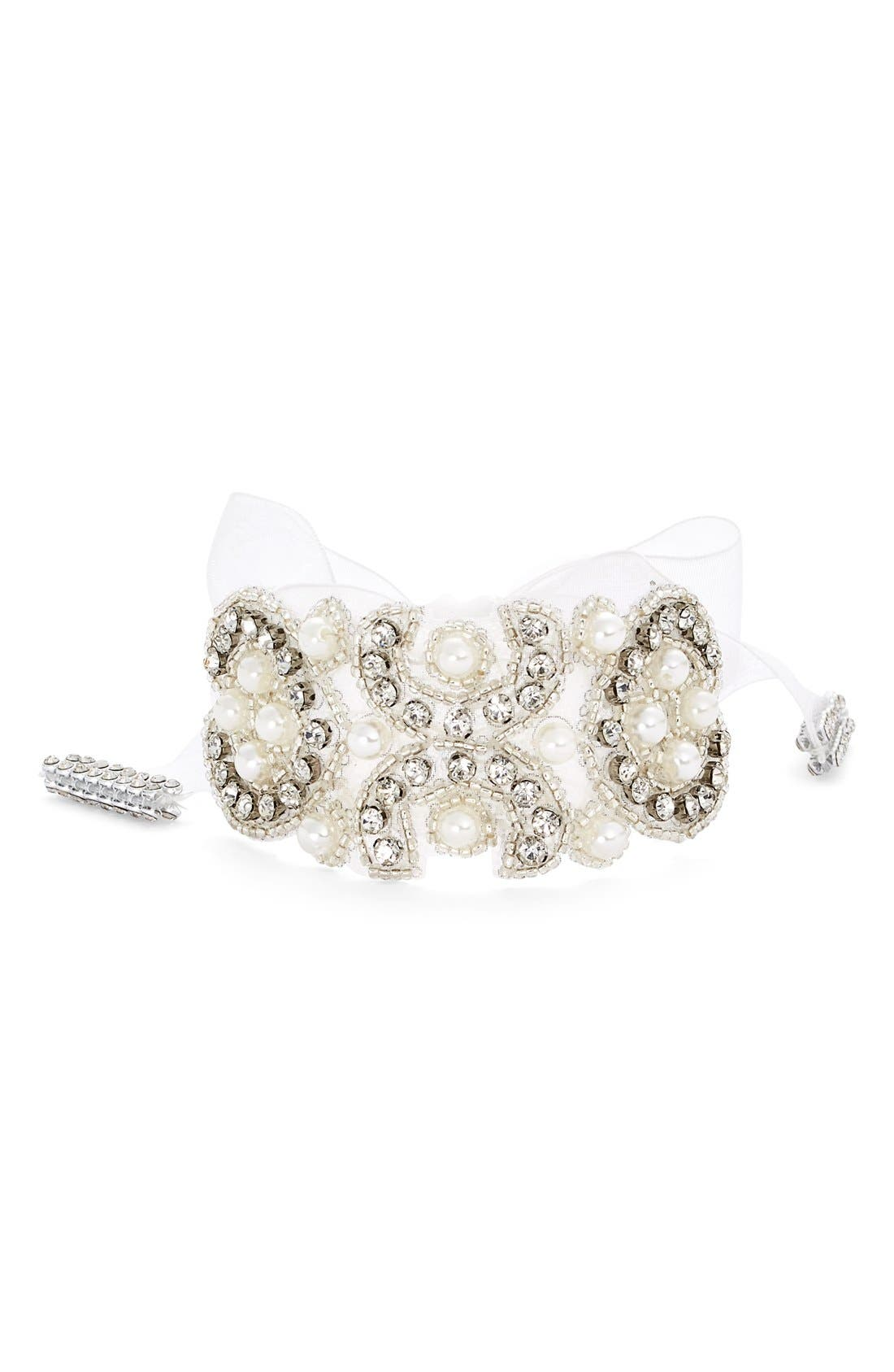 Nina Crystal & Faux Pearl Tie Bracelet