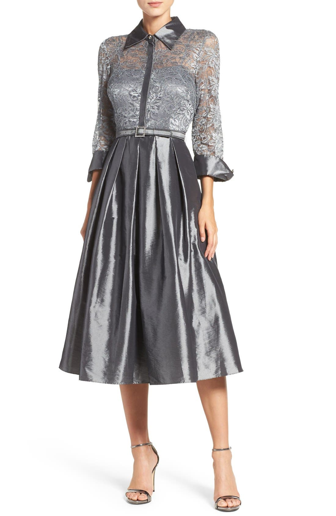 Main Image - Eliza J Mixed Media Fit & Flare Dress (Regular & Petite)