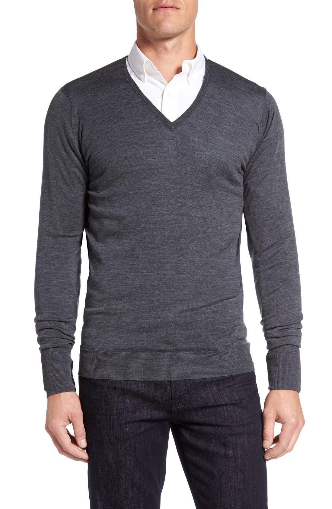 Alternate Image 1 Selected - John Smedley 'Bobby' Easy Fit V Neck Wool Sweater