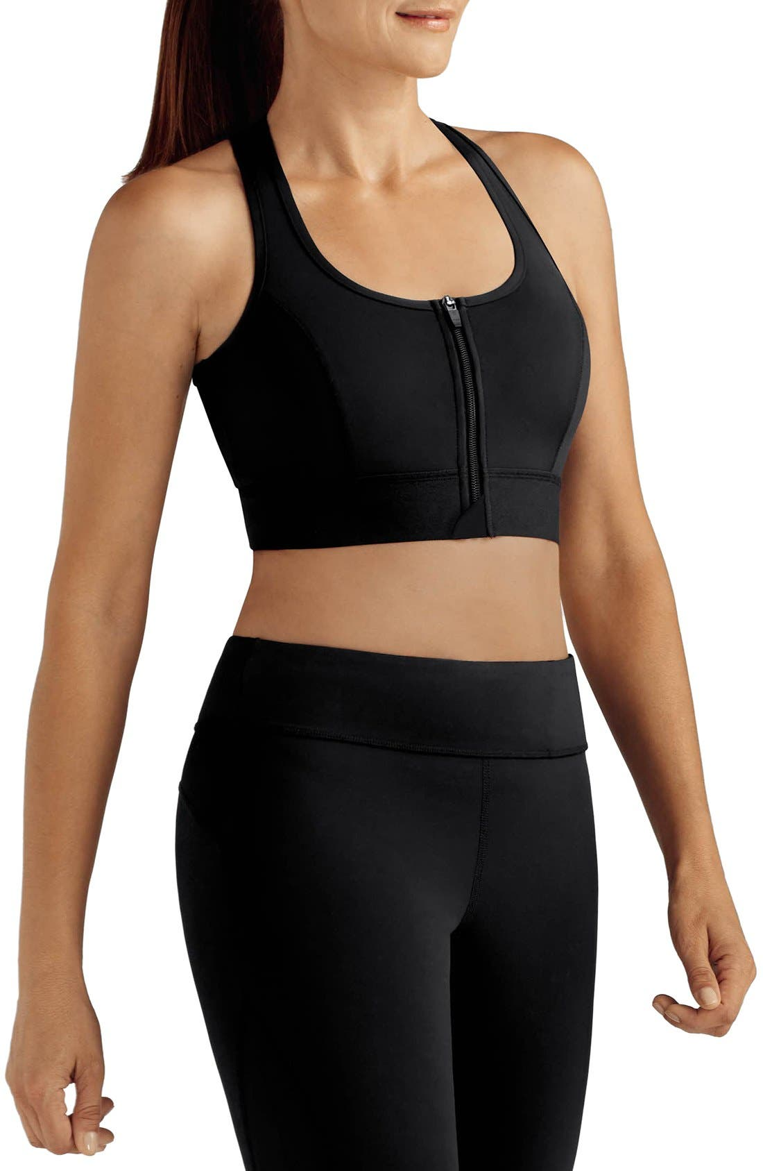 Front Zip Sports Bra,                         Main,                         color, Black