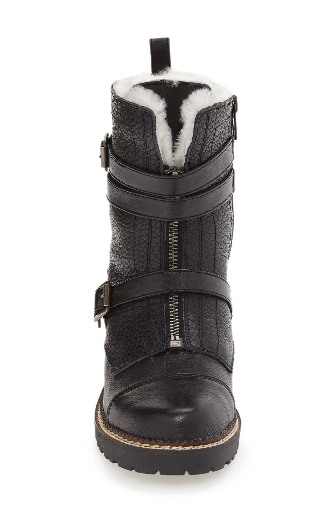 'Pelli' Genuine Shearling Lined Boot,                             Alternate thumbnail 3, color,                             Black Leather