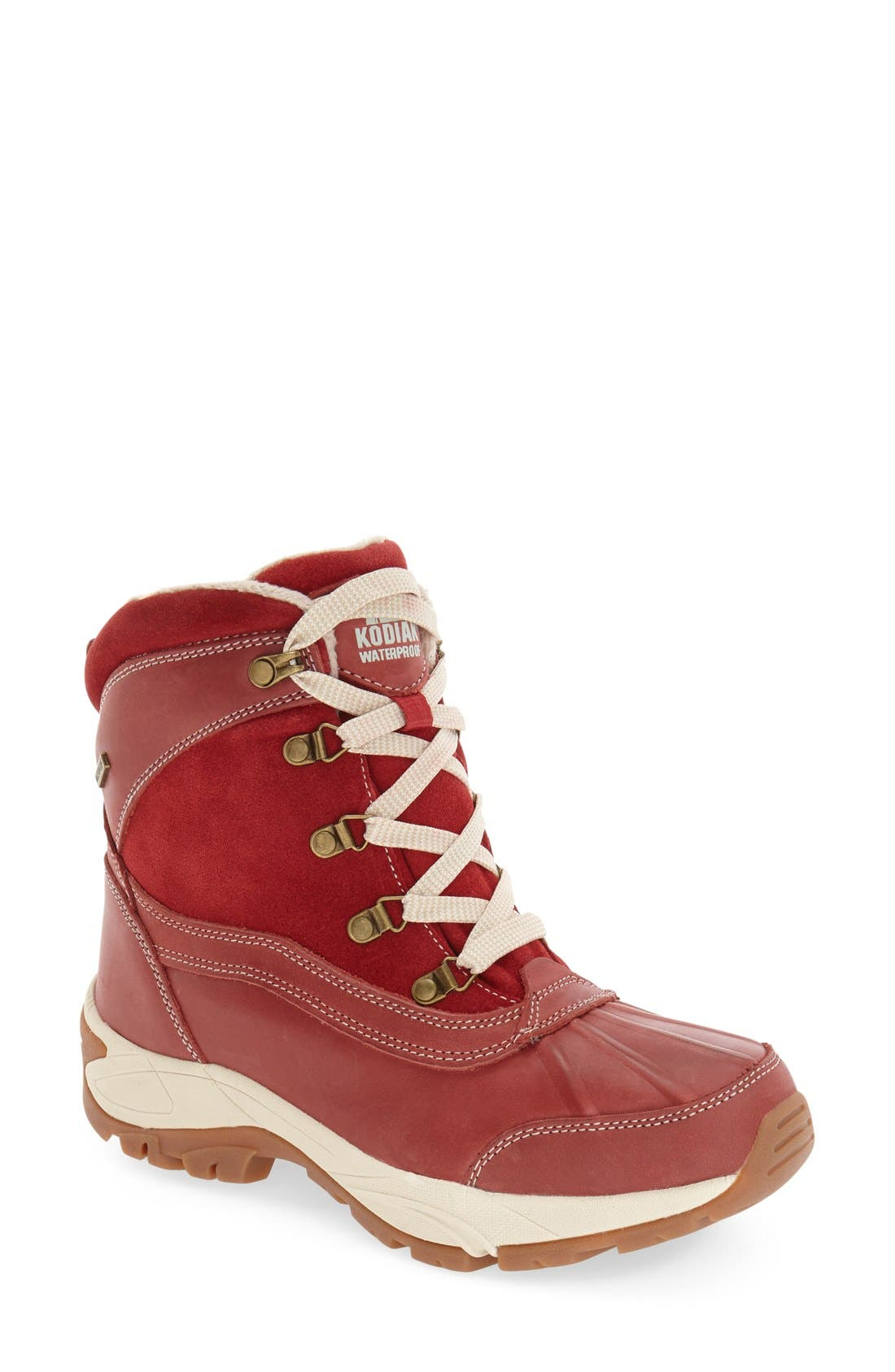 'Renee' Waterproof Insulated Winter Boot,                             Main thumbnail 1, color,                             Red Leather